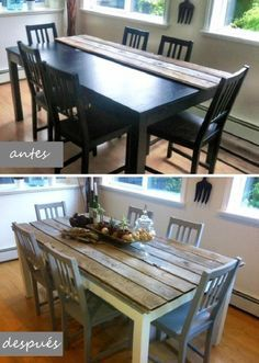 DIY Dining Table and Chairs Makeover Cheap Dining Tables, Diy Dining Table, Dining Rooms, Diy Table Top, Ikea Table, Wood Tables, Dining Set, Refurbished Furniture, Furniture Makeover