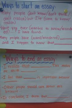 Ways to start/end an essay.  I am sure I will need to remember this in a few years.