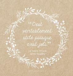 Jolie citation sur fond kraft - Le Petit Prince de Saint Exupéry - déco nature champetre - création Pastilles et Petits Pois