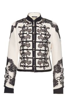 Lace Embellished Military Jacket by DOLCE & GABBANA Now Available on Moda Operandi