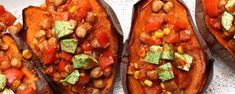 Vegan chili potato, anyone? Load up freshly baked sweet potatoes with a zesty, easy-to-make chickpea chili and you've got a tasty weeknight meal that requires little prep or clean-up.
