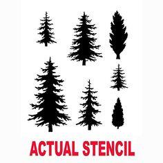 Fir Trees Assortment Stencil