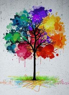 Colorful abstract tree background Pixerstick Sticker – Styles Colorful abstract tree background Pixerstick Sticker – Styles art and dj Paint Splats, Colorful Trees, Art Plastique, Watercolor Paintings, Tree Paintings, Abstract Tree Painting, Abstract Trees, Tree Artwork, Diy Painting
