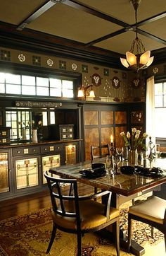 Love the dark masculine colors The White Rose - Symbolist, Arts & Crafts, Art Nouveau - Dining Room