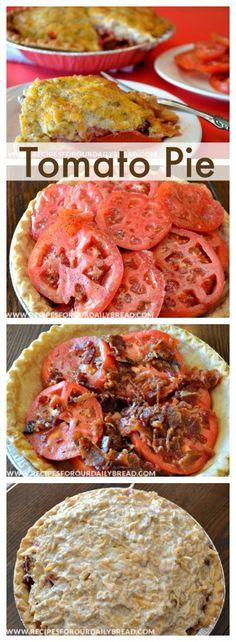 BEST Tomato Bacon Basil Pie Pinterest http://recipesforourdailybread.com/2012/05/24/tomato-bacon-pie-recipe-video/ #bacon #tomato