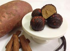 Sweet potato truffles, Chocolate Therapy: This holiday-themed treat features roasted sweet potato mixed with spices and white chocolate and coated in dark chocolate.