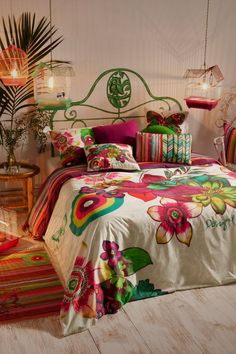 Bright, bold and beautiful tropical bedroom design. Image courtesy of Desigual