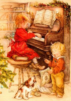 adorable - esp the red headed angel sitting on a book to reach the keys but she can't reach the pedals!    (artist Lisi Martin)
