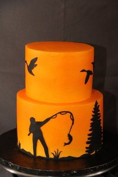 "Fishing Birthday Cake. Add a Disney spin to it for my dad celebrating his 60th at Disney World - Have goofy as the fisher man, add Cinderella's castle, Mickey and Minnie in a boat. Same colors: yellow to light orange to dark orange and the black silhouettes (a red bow for Minnie) ""Happy 60th Birthday Papa"" on Top of the cake in dark blue."