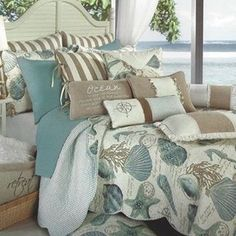 Seashell themed bedding for #NationalSeashellDay  anyone shell hunting today to celebrate?   - - - - - http://beachfrontdecor.com/product-category/bedding-comforter-sets/
