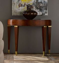 Mid Century Half Oval Console table  Tapered Legs and Brass Accents