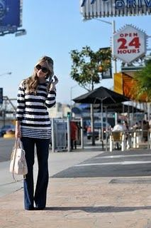 Vintage striped sequin sweater with extra big navy flares