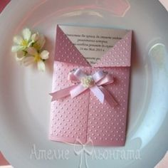 Wedding invitation, handmade of pearl cardstock and ribbons. Custom colors by choice.