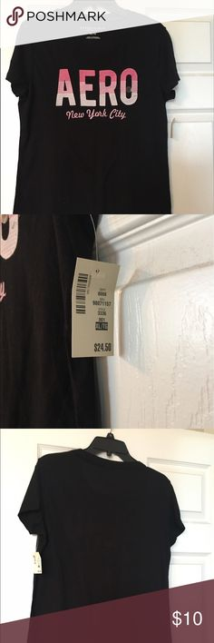 Aeropostale T-shirt A black short sleeve T-shirt. It is brand new with tags. It has pink and white letters embroidered on it. Nice shirt for the summer 😃 Aeropostale Tops Tees - Short Sleeve