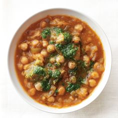 As the evenings grow chillier, warm and nourishing dishes like this satisfying chickpea stew are welcome at dinner. A dollop of pesto gives a burst of flavor and one last nod to summer. (Look for pesto in the refrigerated section of your market, or make your own.)