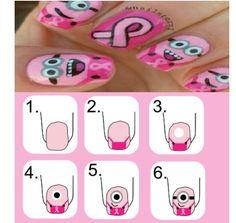 minion breast awareness nail art | Breast cancer minion nails