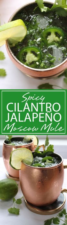 Spicy Cilantro Moscow Mule | A refreshing Moscow Mule with spicy and sweet flavoring. Jalapeño and Cilantro make a ULTIMATE cocktail for sipping pleasures | forkknifeandlove.com