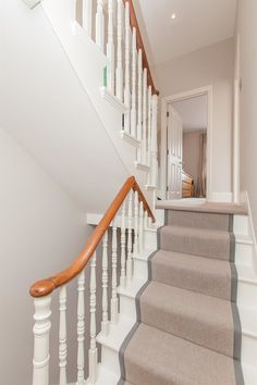 New Stairs Makeover Banisters Newel Posts 44 Ideas House Stairs, Home, House Styles, House Interior, Wooden Stairs, Hallway Designs, Painted Stairs, Carpet Stairs, Stairways
