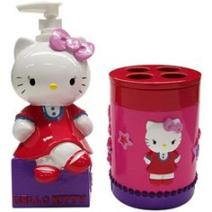 """Sanrio Hello Kitty """"Kitty and Me"""" Lotion Pump and Toothbrush Holder"""