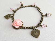 Pink flower girl bracelet, initial bracelets, flower girl gift, rustic wedding jewelry, little girl bracelet, bridal jewelry