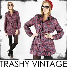 vtg 60s 70s mod ETHNIC PAISLEY scarf print BABYDOLL SHIRT tunic mini dress S/M/L $28.00