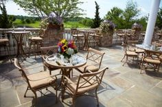 Our terrace, just part of your elaborate cocktail hour. Willow Creek Golf & Country Club in Mount Sinai, New York.