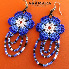 Your place to buy and sell all things handmade Beaded Earrings, Crochet Earrings, Huichol Art, Mexican Jewelry, Native American Beading, Recycled Crafts, Flower Necklace, Beaded Flowers, Bead Art