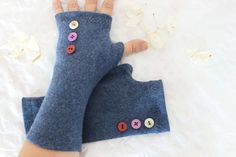 Blue gloves blue woolen gloves blue fingerless by Nazcolleccolors