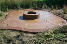 red and brown stained concrete patio