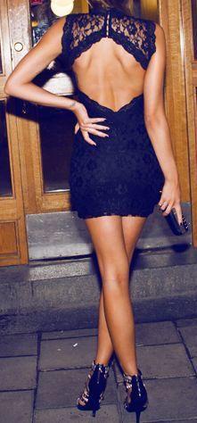 street style / black open-back lace dress