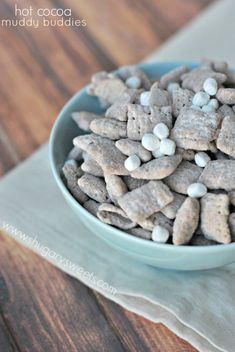Hot Cocoa Muddy Buddies from Shugary Sweets. So delicious!