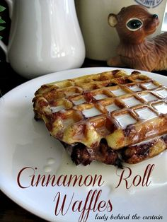 Cinnamon Roll Waffles with Cream Cheese Syrup - Lady Behind the Curtain