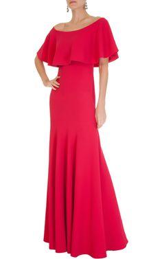 undefined - Vestido longo decote babado Candy Brown - pink - OQVestir