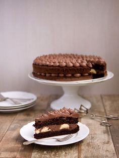 ** Kakaový dort s krémem z mascarpone a čokoládové ganache