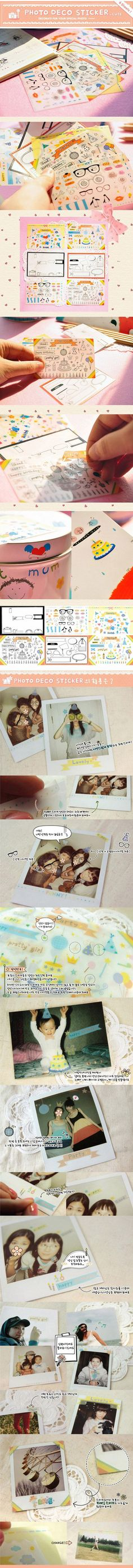 Cute Photo Party Stickers 6 pc Set