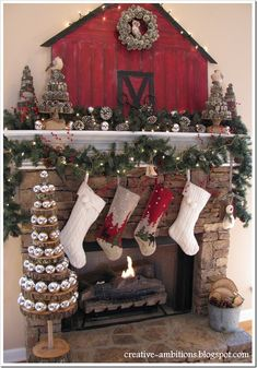8 Creative Christmas Mantels - Hooked on Houses Cowboy Christmas, Woodland Christmas, Noel Christmas, Country Christmas, Cabin Christmas, Primitive Christmas, Western Christmas Tree, Primitive Fall, Primitive Snowmen