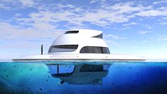 from a floating restaurant, to a tanning deck and reception venue, this futuristic vehicle is a true chameleon.