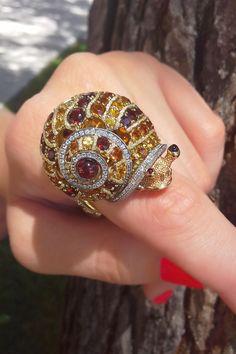 Brown Diamond Snail Ring