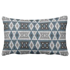 Teal Blue Gray Black Eclectic Ethnic Look Lumbar Pillow - rustic style country natural diy customize personalize