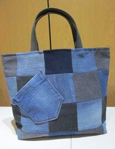 Upcycled Patchwork Jeans Bag, Blue/Black, One of a Kind Bag, Handmade Bag,Tote…