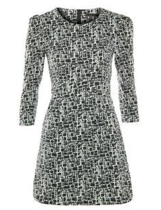 Tenki Monochrome Scratch Print Long Sleeve Dress