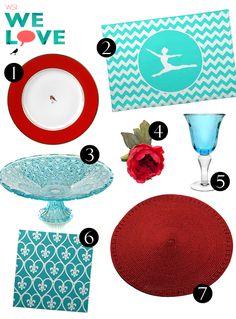 mesa vermelha e turquesa/ aqua and red tablescape