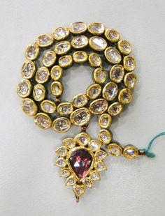 VINTAGE ENAMEL WORK 20 K GOLD DIAMOND POLKI KUNDAN NECKLACE RAJASTHAN INDIA