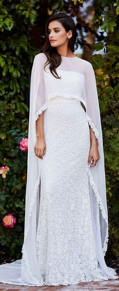 strapless off the shoulder with cape sheath wedding dress #weddingdress #wedding #weddinggown