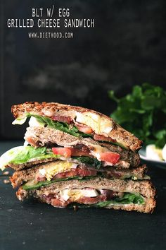 BLT With Egg Grilled Cheese Sandwich | www.diethood.com | Delicious AND Cheesy!