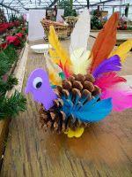 Wilsons Garden Center ……… Kidz Club: Turkey Pine Cone Craft - Crafts for Kids Pinecone Turkey, Pinecone Crafts Kids, Pine Cone Crafts, Pinecone Decor, Toddler Crafts, Kids Crafts, Kids Diy, Halloween Crafts, Holiday Crafts