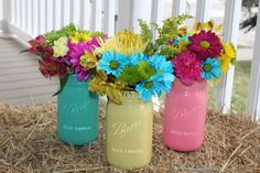 Painted Mason Jar Vases DIY Tutorial