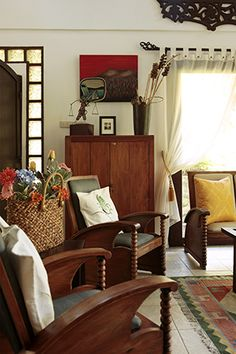 Pinoy Eclectic style: Provincial Home Eclectic Style, Eclectic Decor, Filipino Interior Design, Tropical Interior, Modern Tropical, Philippine Houses, Indochine, Traditional House, Traditional Decor