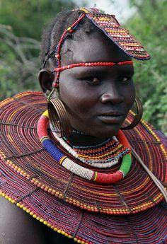Pokot Girl, in traditional dress Kenya.