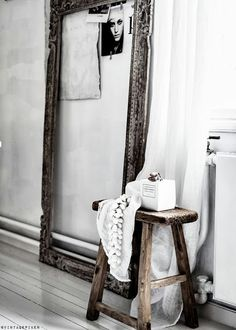 #Rustic mirror. The white fabric draping over the stool is the perfect touch. #8thandsupreme